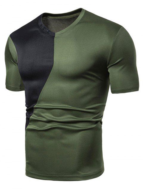Color Block Design Short Sleeves T-shirt - ARMY GREEN M