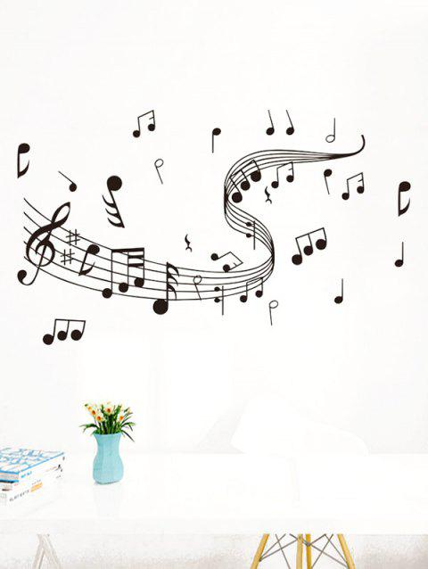 Musical Note Print Wall Art Stickers - BLACK
