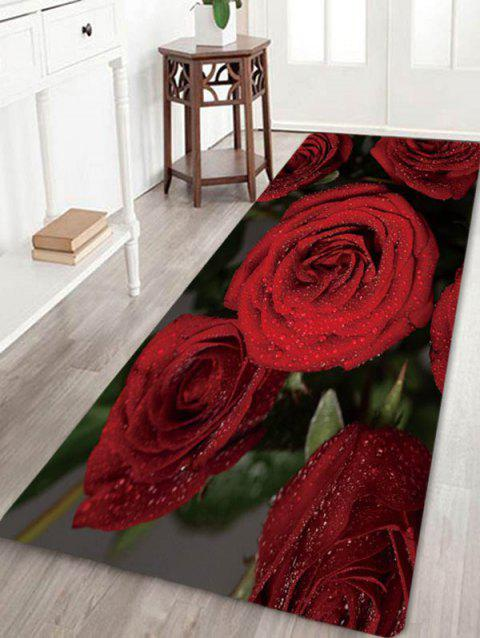 3D Rose Flower Pattern Floor Rug - multicolor A W24 X L71 INCH
