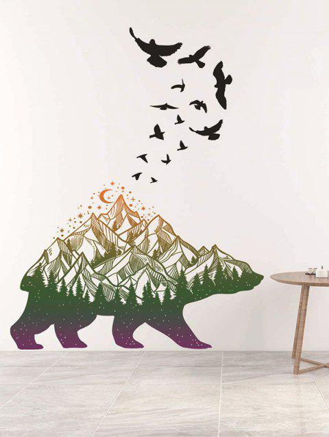 Mountains Animal Print Wall Art Stickers - multicolor