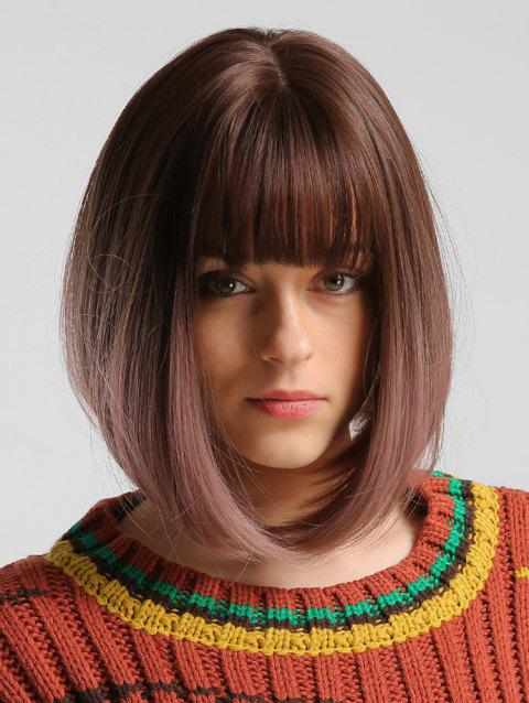 Bob Straight Medium Full Bang Synthetic Wig - BLACK