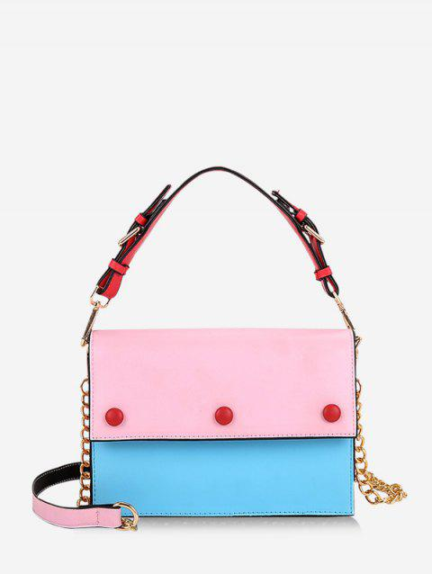 Chic Color Spliced Decoration Crossbody Bag - PINK