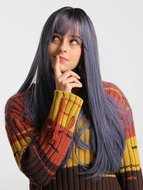 Solid See-through Bang Straight Long Synthetic Wig - multicolor 24INCH
