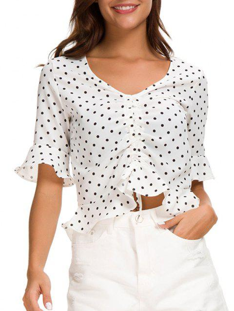 Polka Dot Cinched Flare Sleeve Blouse - WHITE XL