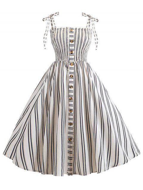 Striped Button Embellished Smocked Cami Dress - WHITE XL