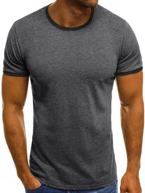 Round Neck Design Casual T-shirt - LIGHT GRAY XL