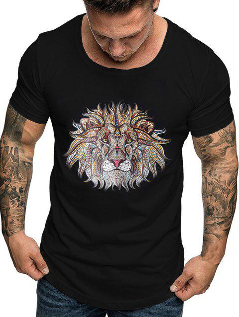 Lion Print Short Sleeves T-shirt - BLACK 2XL