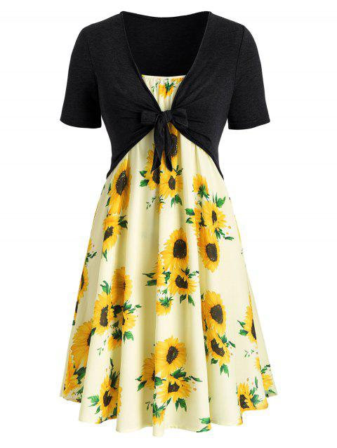 Plus Size Sunflower Print Dress With Front Knot Top - multicolor D 2X