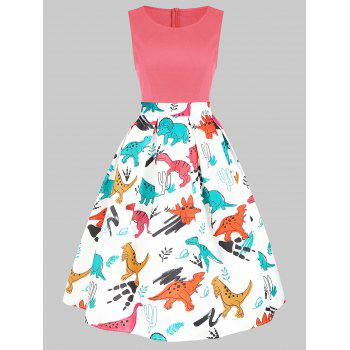 Round Neck Dinosaur Print Flare Dress