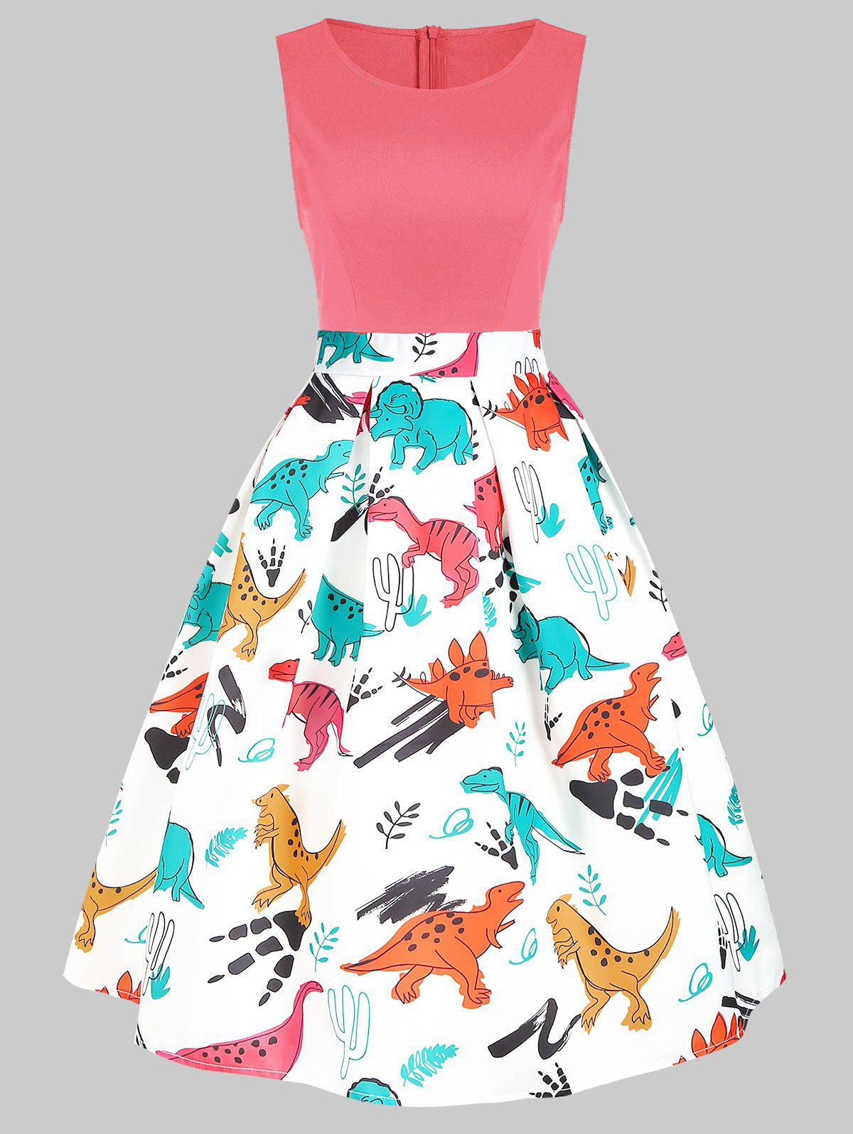 Round Neck Dinosaur Print Flare Dress - FLAMINGO PINK L