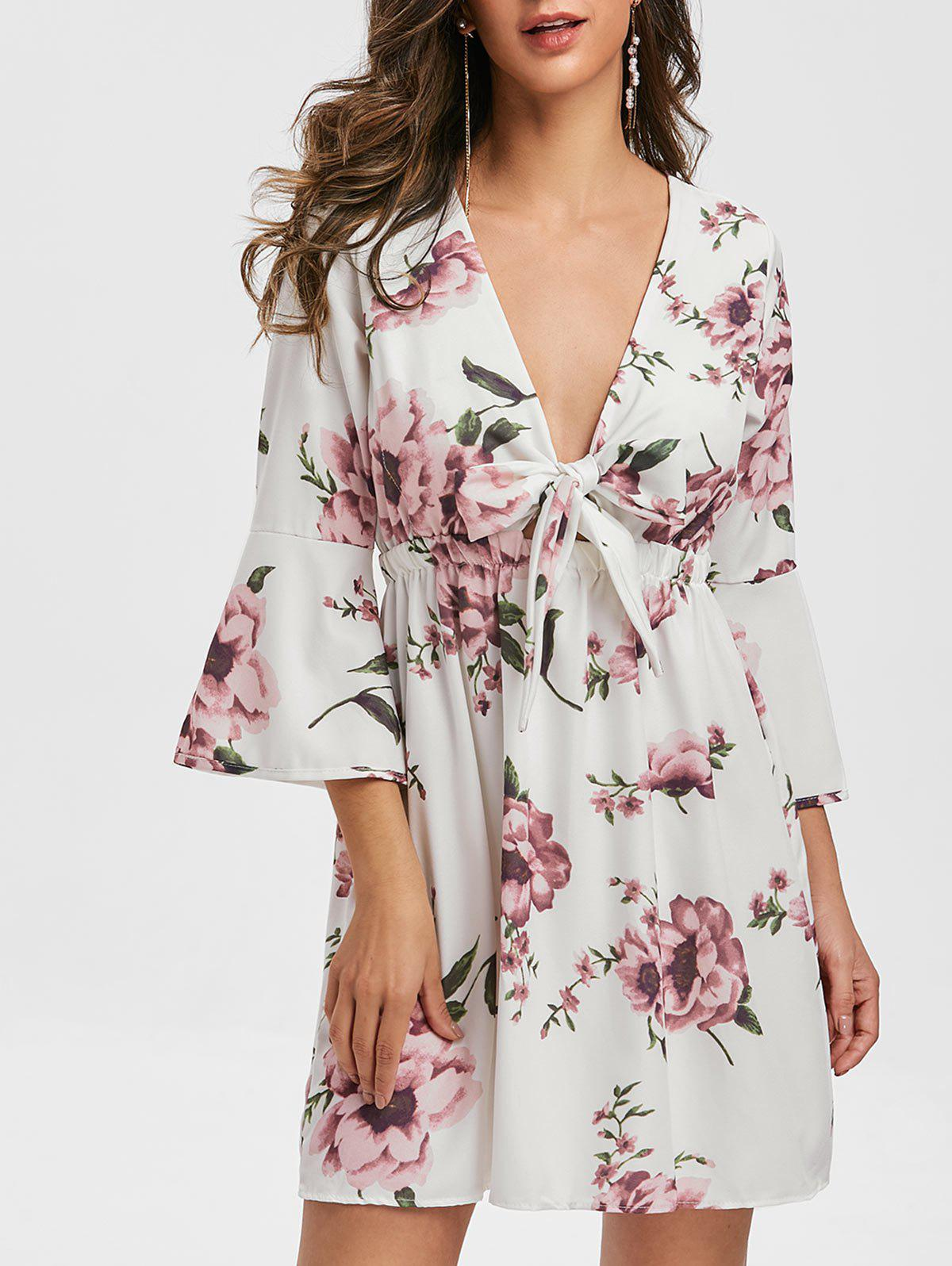Flare Sleeve Knotted Floral Print Dress - WHITE L
