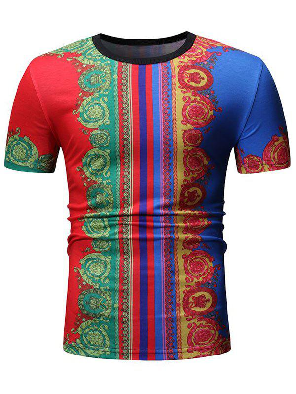 Tribal Print Casual Short Sleeves T-shirt - multicolor A L