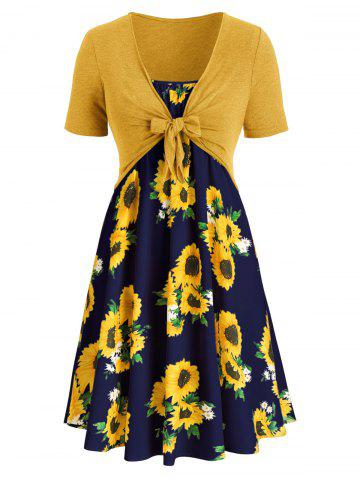 a95b177399 Plus Size Sunflower Print Dress With Front Knot Top