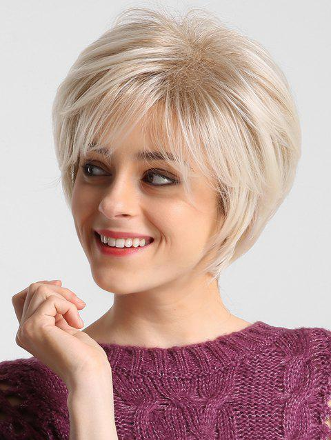 Short Solid Straight Side Bang Synthetic Wig - BLONDE 10INCH