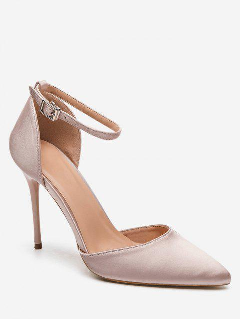 Pointed Toe Two Piece Heeled Pumps - CHAMPAGNE EU 39