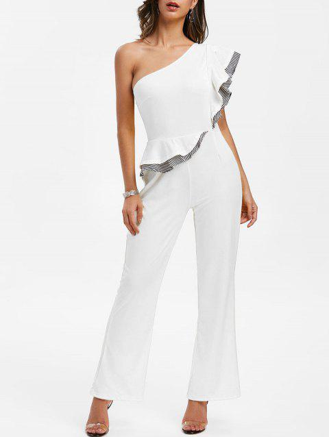 Striped  One Shoulder Ruffle Jumpsuit - MILK WHITE M