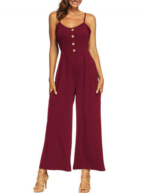 Button Knot Wide Leg Jumpsuit - RED WINE M