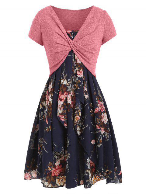 Floral Cami Dress with Plunging T-shirt - CADETBLUE XL