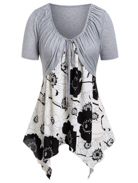 Plus Size Floral Handkerchief Cami Top With Tee - GRAY GOOSE 1X