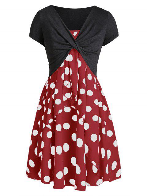 Polka Dot Cami Dress with Plunging T-shirt - LAVA RED M