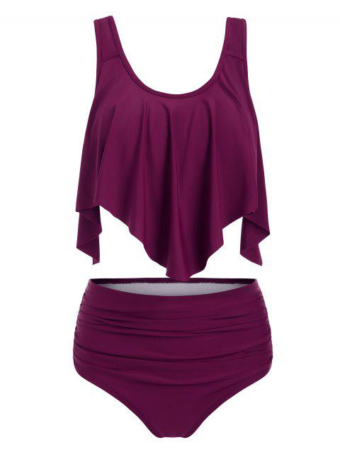 Solid Ruffles Layered Tankini Set - PLUM VELVET 2XL