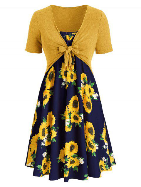 Plus Size Sunflower Print Dress With Front Knot Top - multicolor G 3X