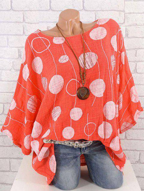 Plus Size Polka Dot Batwing Sleeve Blouse - BEAN RED 5X