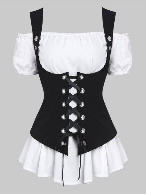 Off Shoulder Casual Blouse and Lace-up Waistcoat Set - WHITE 3XL