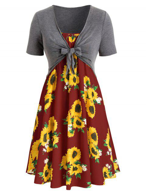 Plus Size Sunflower Print Dress With Front Knot Top - multicolor F L