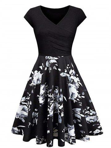 074a1410be6a Floral Print Vintage Surplice Flare Dress