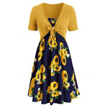 Plus Size Sunflower Print Dress With Front Knot Top