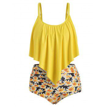 Plus Size Ruffled Sunflower Print Bikini Set