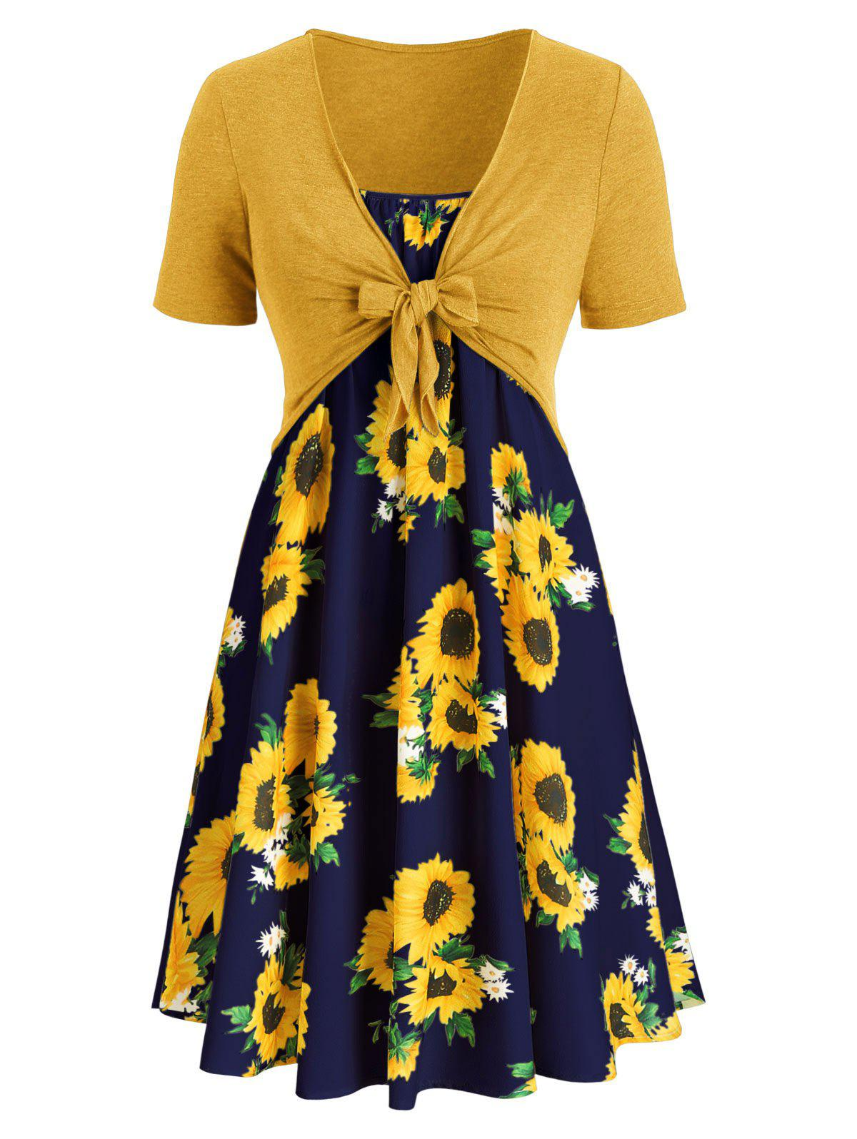 Plus Size Sunflower Print Dress With Front Knot Top - multicolor G L