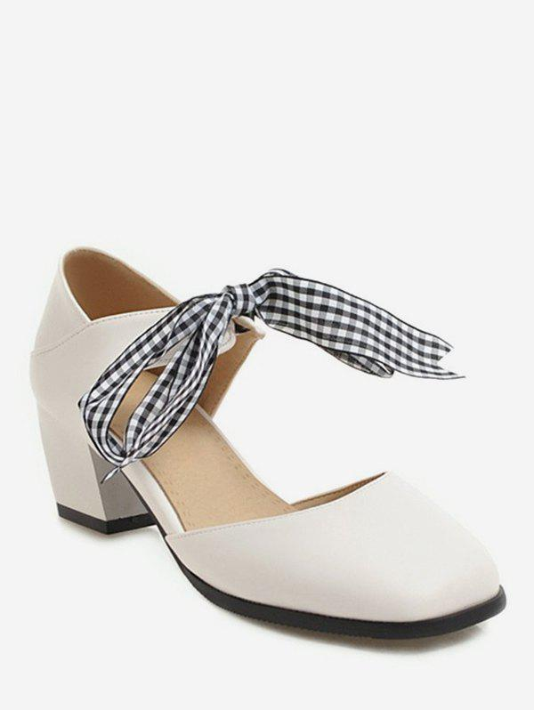 Sweet Plaid Bow Chunky Heel Sandals, Beige