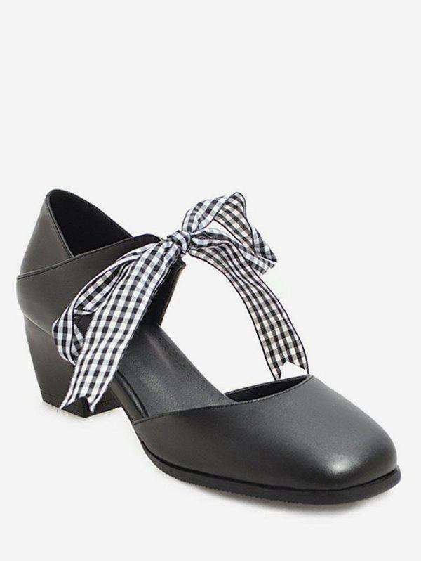 Sweet Plaid Bow Chunky Heel Sandals, Black
