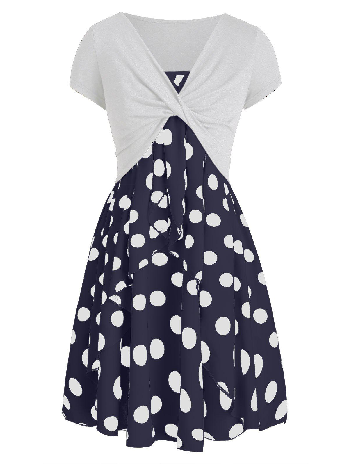 Polka Dot Cami Dress with Plunging T-shirt - CADETBLUE M
