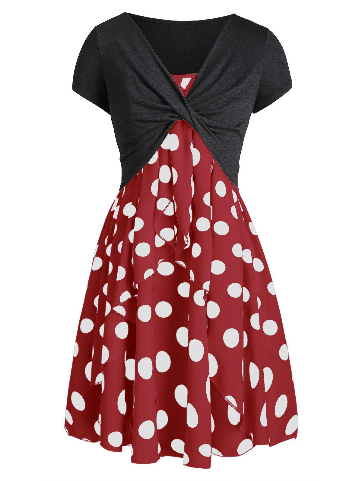Polka Dot Cami Dress with Plunging T-shirt - LAVA RED L
