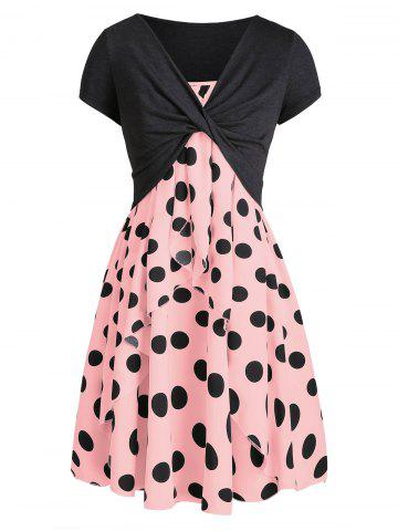 Polka Dot Cami Dress with Plunging T-shirt