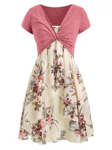 Floral Cami Dress with Plunging T-shirt
