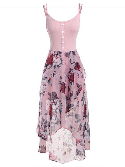 Plus Size Floral Overlay High Low Dress - PINK 4X