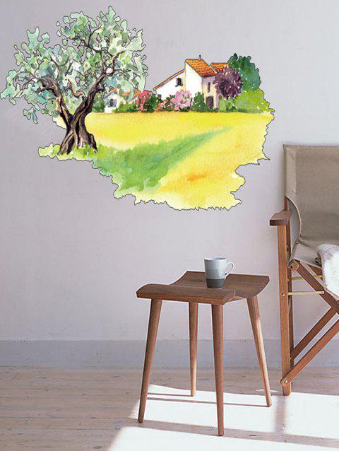 House and Tree Print Wall Art Stickers - multicolor