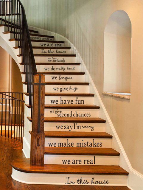 Simple Style Letters Print Stair Stickers - BLACK