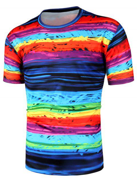 12f1eb96 17% OFF] 2019 Rainbow Striped Short Sleeve T Shirts In BLACK | DressLily