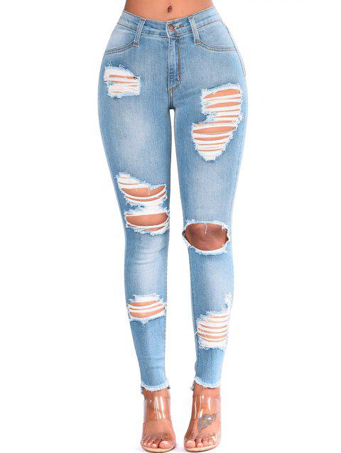 Cut Out Ripped Frayed Slim Jeans - JEANS BLUE M