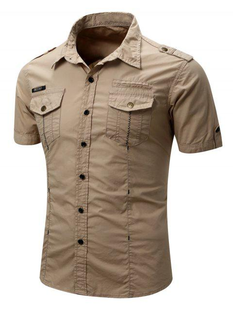 Pocket Decoration Button Up Cargo Shirt - LIGHT KHAKI M