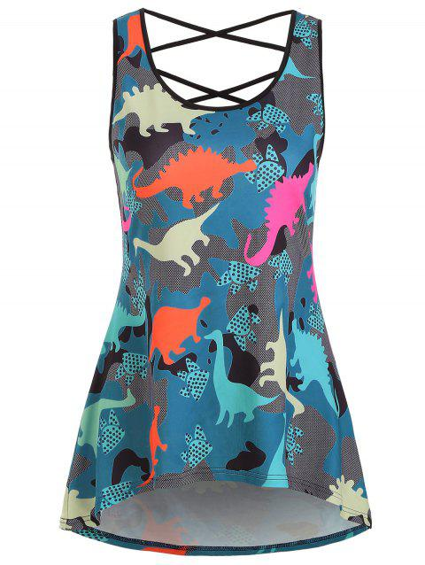 Dinosaur Criss Cross High Low Tank Top - multicolor 3XL