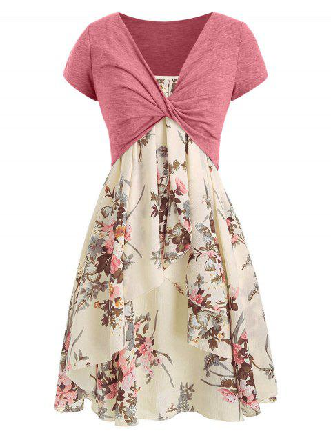 Floral Cami Dress with Plunging T-shirt - BEIGE XL