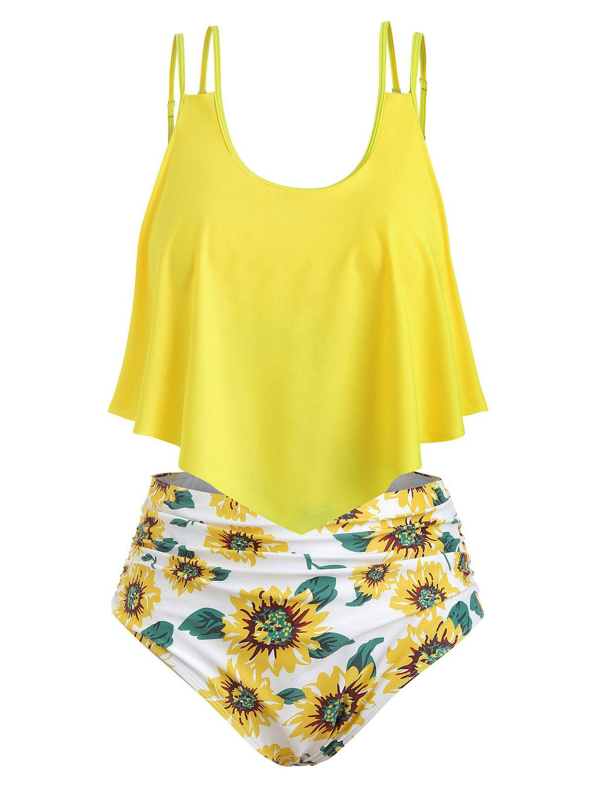 Sunflower Contrast Overlay Plus Size Tankini Set - YELLOW M