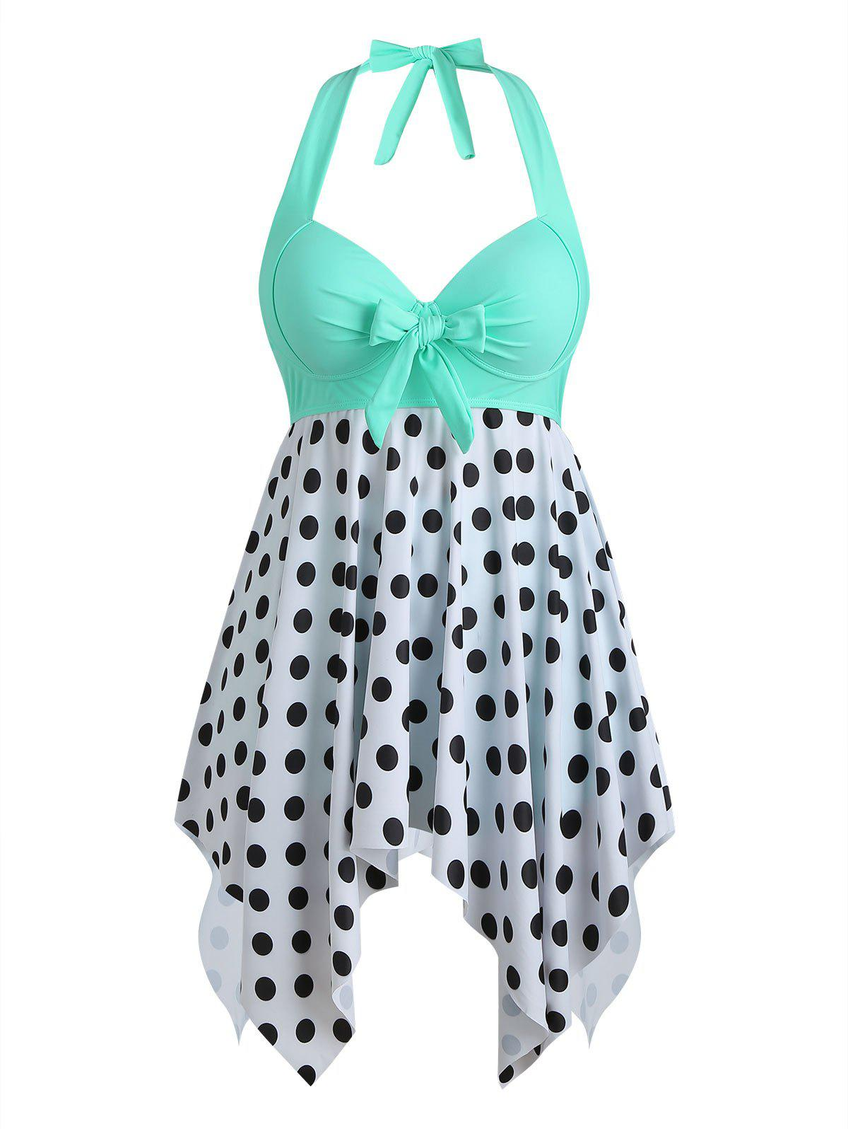 Palm Tree Flamingo Fishscale Polka Dot Bowknot Plus Size Tankini Set - MINT GREEN 5X