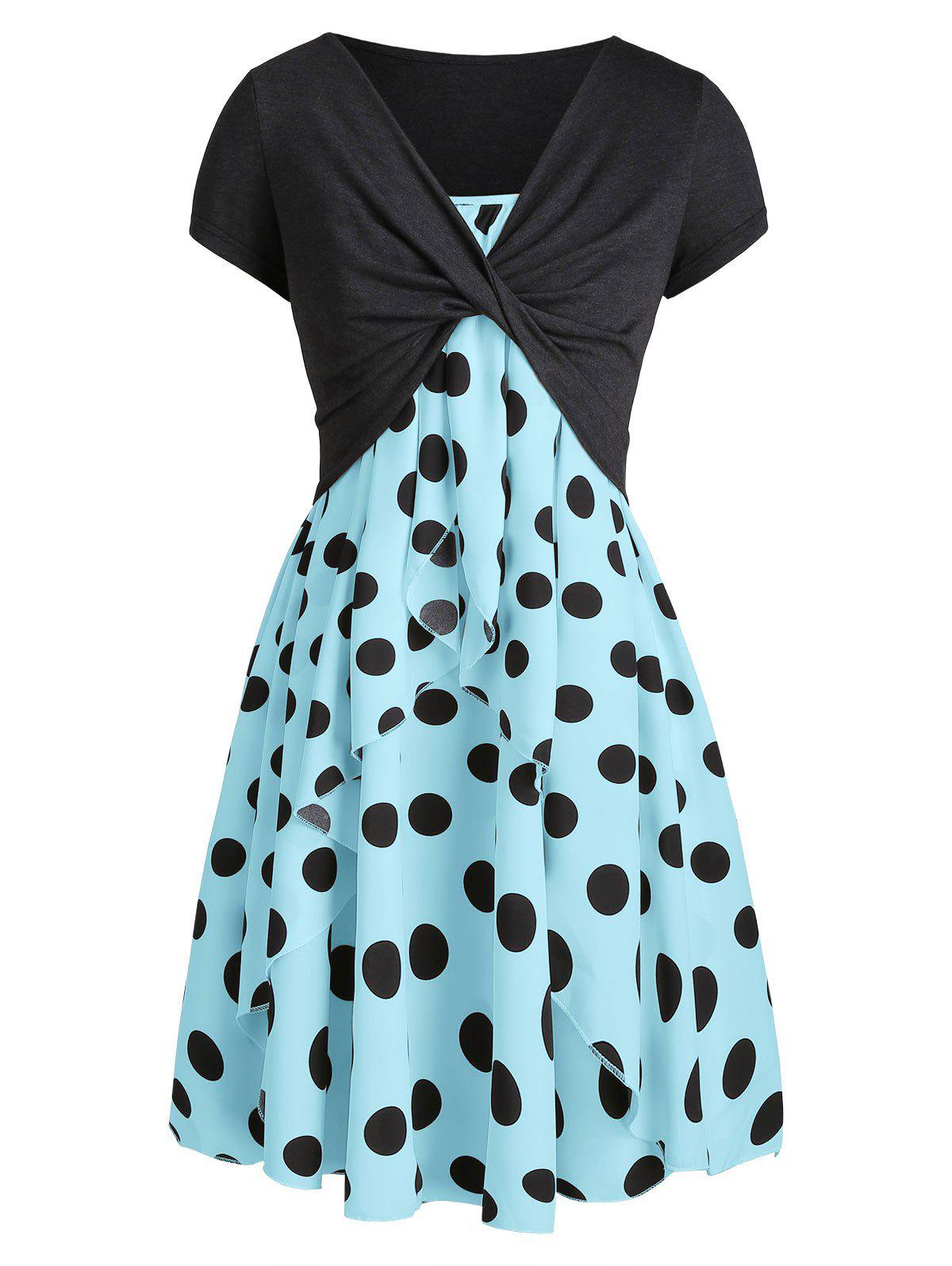 Polka Dot Cami Dress with Plunging T-shirt - LIGHT BLUE XL